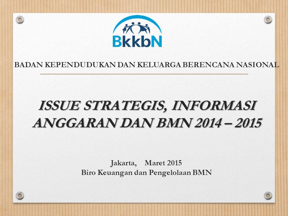 BADAN KEPENDUDUKAN DAN KELUARGA BERENCANA NASIONAL ISSUE STRATEGIS, INFORMASI ANGGARAN DAN BMN 2014 – 2015 Jakarta, Maret 2015 Biro Keuangan dan Pengelolaan BMN