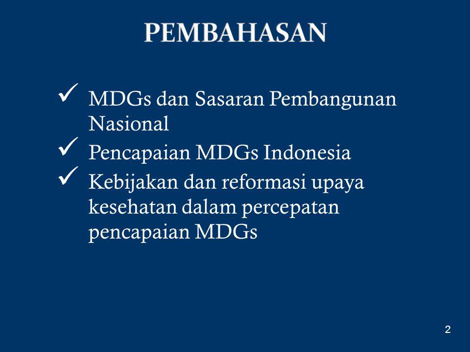 PEMBAHASAN MDGs dan Sasaran Pembangunan Nasional