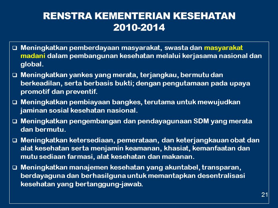 RENSTRA KEMENTERIAN KESEHATAN 2010-2014