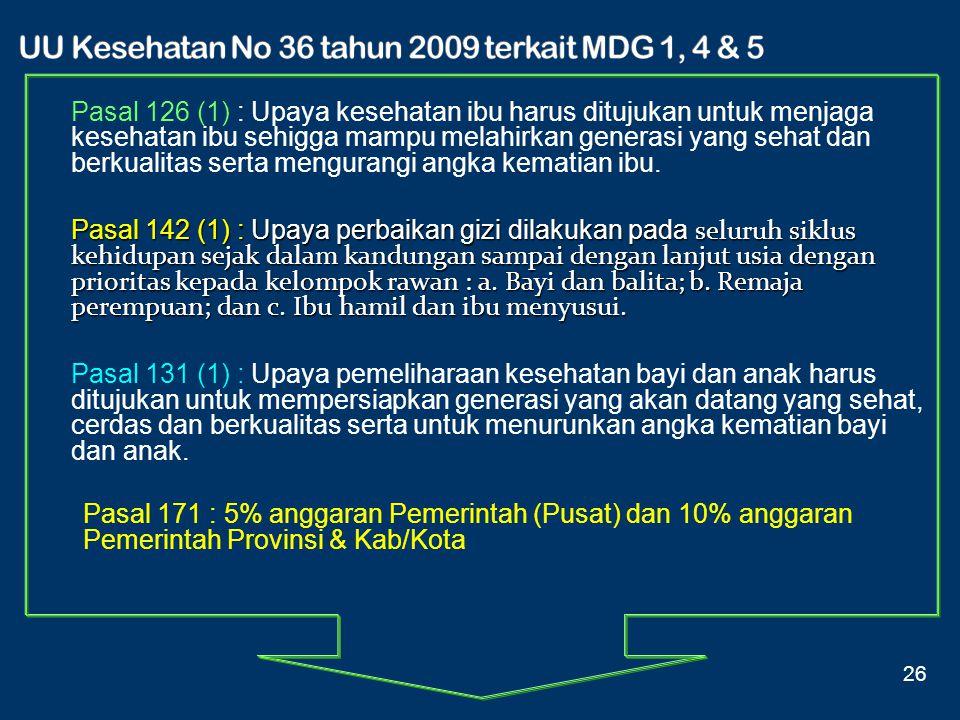 UU Kesehatan No 36 tahun 2009 terkait MDG 1, 4 & 5