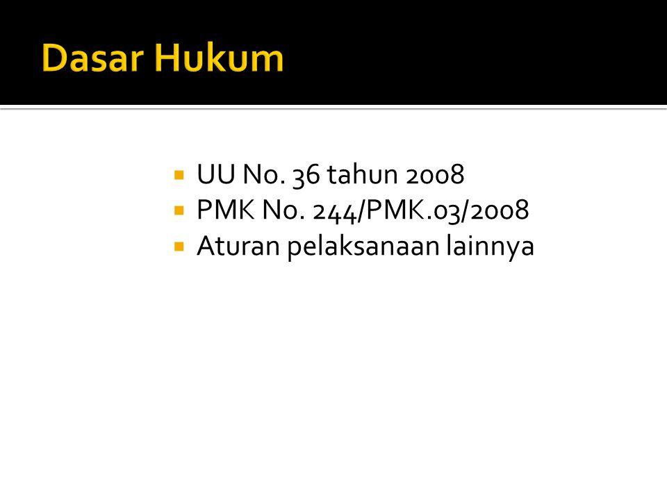 Dasar Hukum UU No. 36 tahun 2008 PMK No. 244/PMK.03/2008