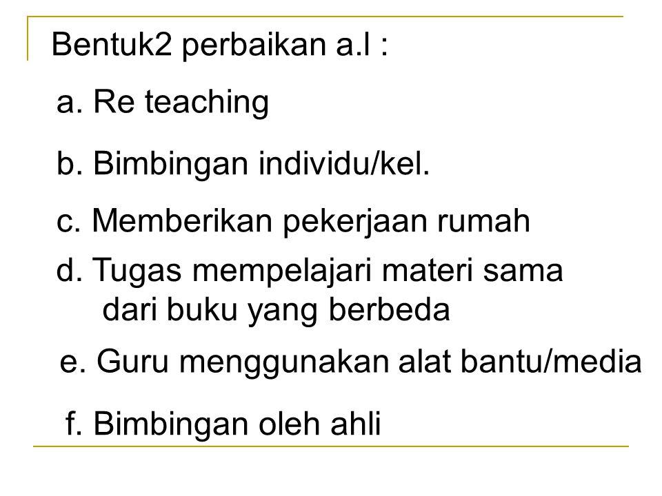 Bentuk2 perbaikan a.l : a. Re teaching. b. Bimbingan individu/kel. c. Memberikan pekerjaan rumah.