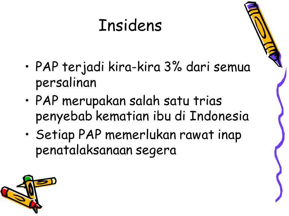 Insidens PAP terjadi kira-kira 3% dari semua persalinan