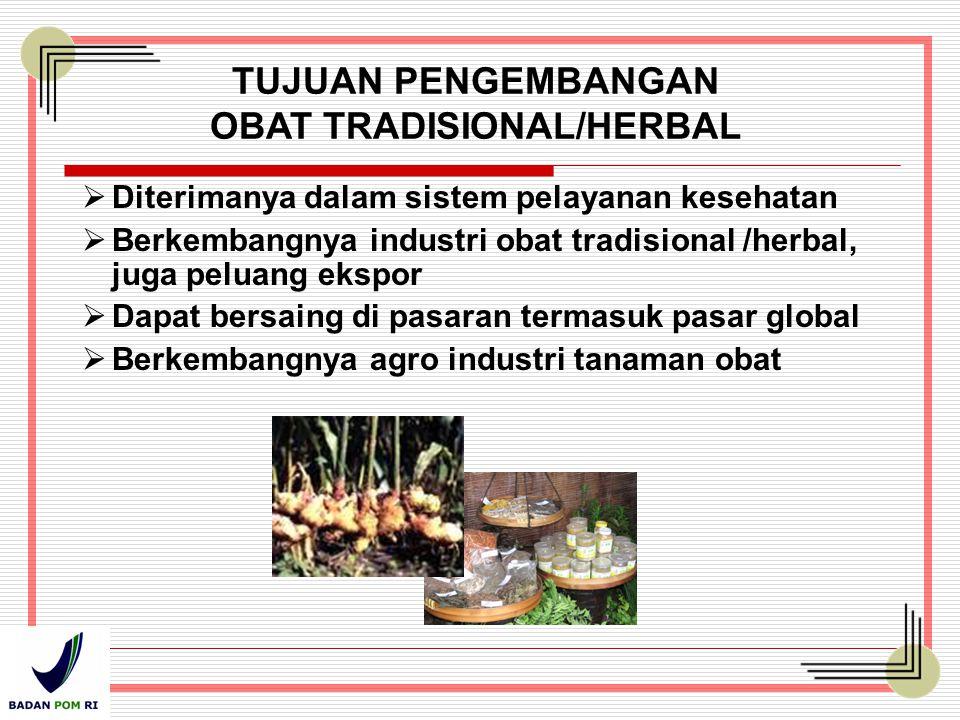 TUJUAN PENGEMBANGAN OBAT TRADISIONAL/HERBAL