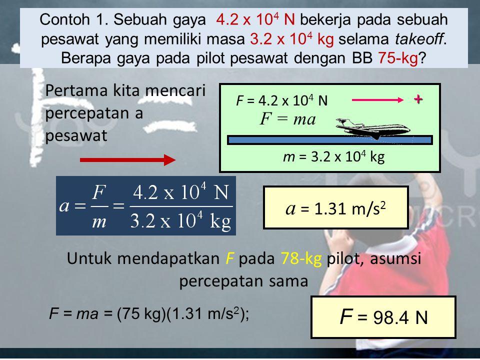 Untuk mendapatkan F pada 78-kg pilot, asumsi percepatan sama