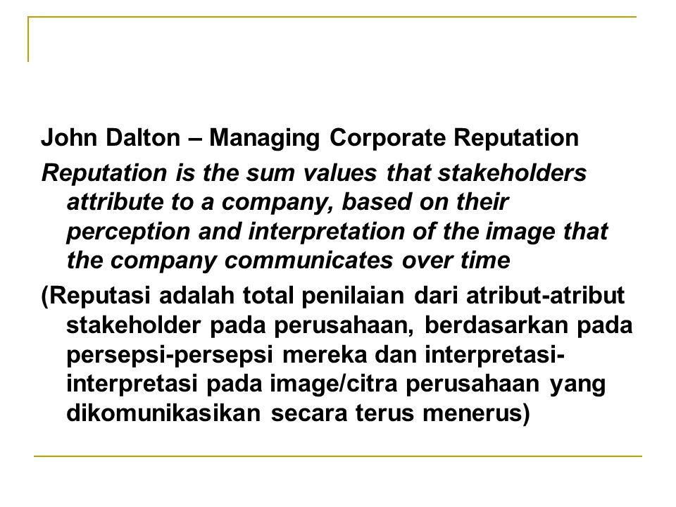John Dalton – Managing Corporate Reputation