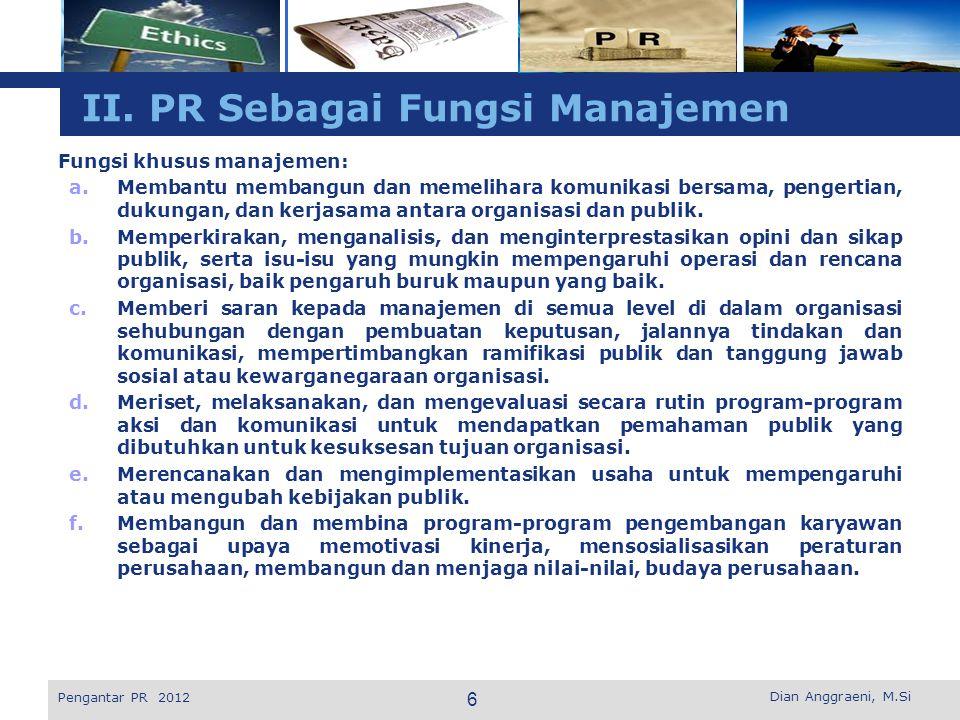 II. PR Sebagai Fungsi Manajemen