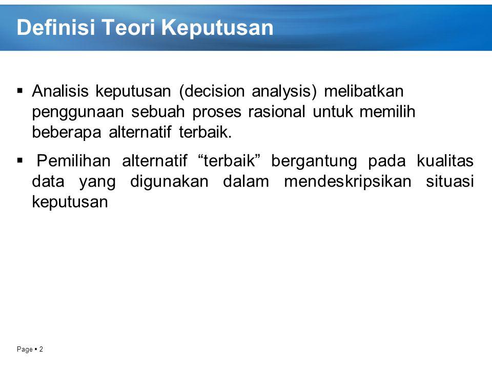 Definisi Teori Keputusan