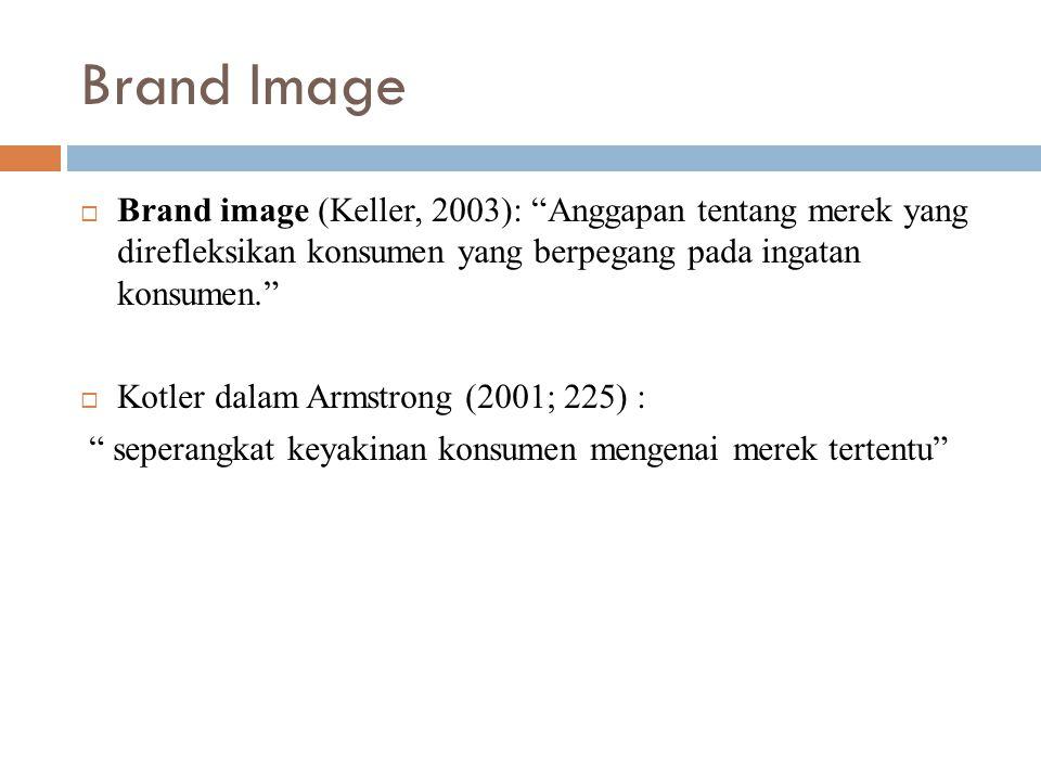 Brand Image Brand image (Keller, 2003): Anggapan tentang merek yang direfleksikan konsumen yang berpegang pada ingatan konsumen.