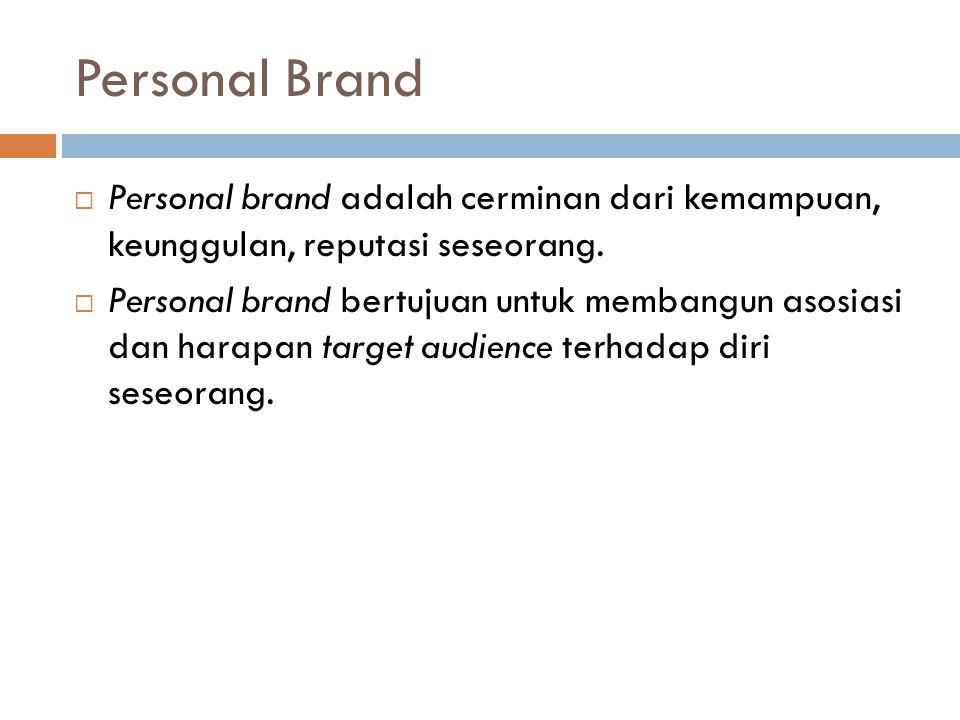 Personal Brand Personal brand adalah cerminan dari kemampuan, keunggulan, reputasi seseorang.