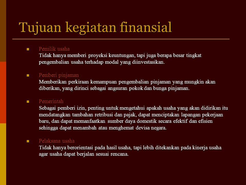 Tujuan kegiatan finansial