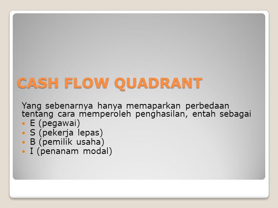 CASH FLOW QUADRANT Yang sebenarnya hanya memaparkan perbedaan tentang cara memperoleh penghasilan, entah sebagai.