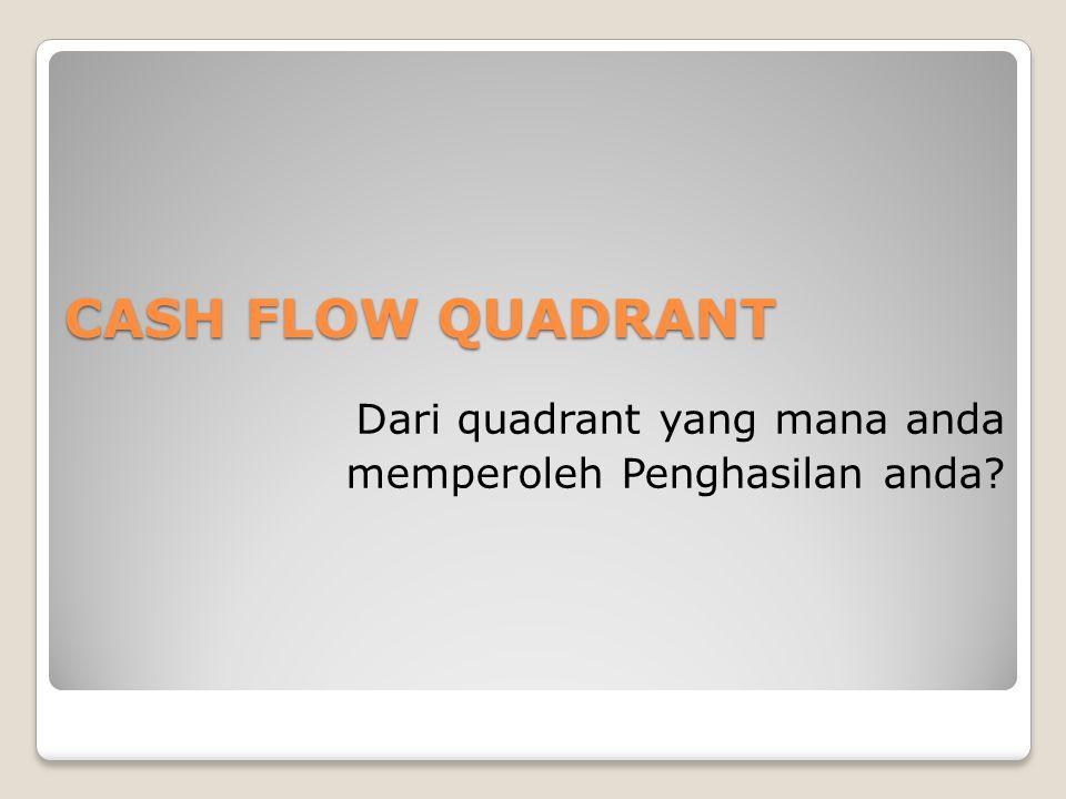 CASH FLOW QUADRANT Dari quadrant yang mana anda memperoleh Penghasilan anda
