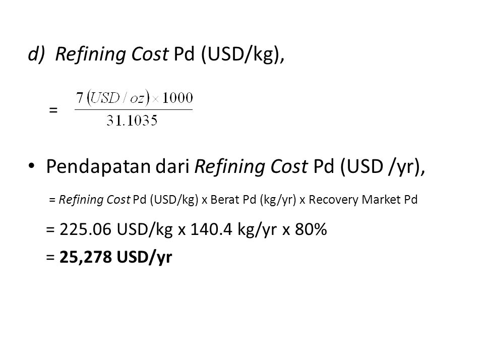 Refining Cost Pd (USD/kg),