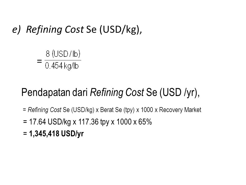 Refining Cost Se (USD/kg), =