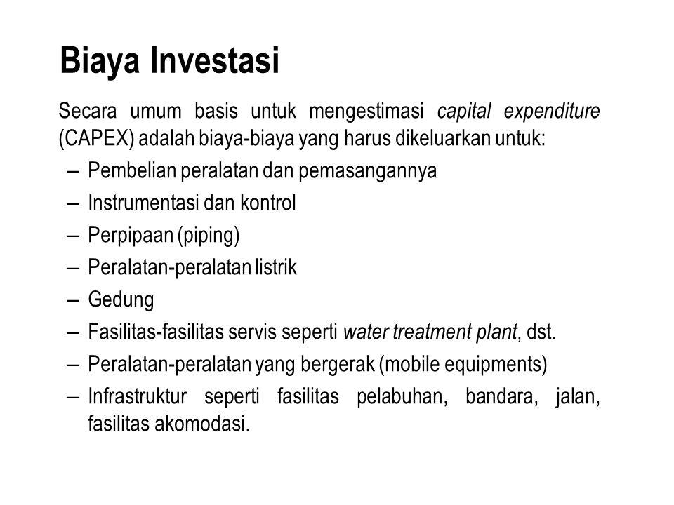 Biaya Investasi Secara umum basis untuk mengestimasi capital expenditure (CAPEX) adalah biaya-biaya yang harus dikeluarkan untuk: