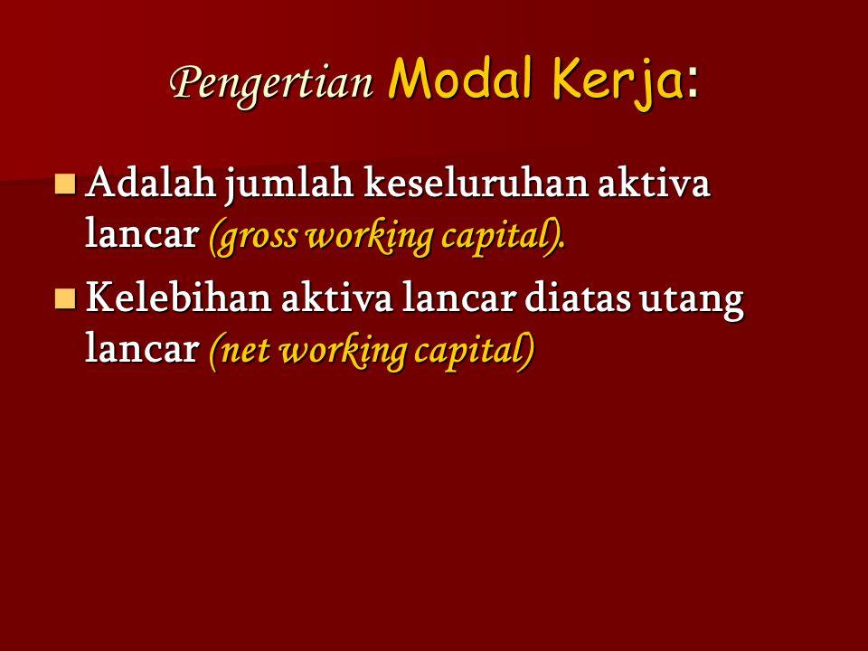 Pengertian Modal Kerja: