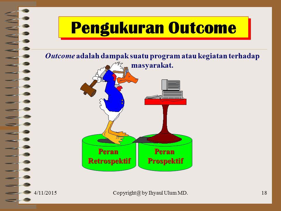 Outcome adalah dampak suatu program atau kegiatan terhadap masyarakat.