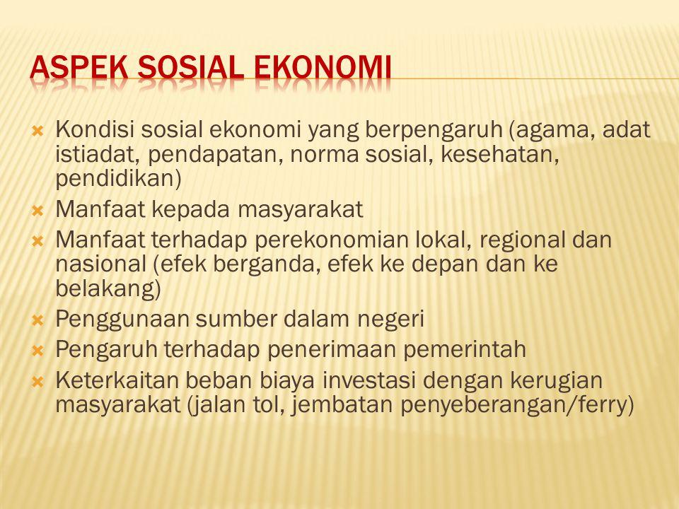 Aspek sosial ekonomi Kondisi sosial ekonomi yang berpengaruh (agama, adat istiadat, pendapatan, norma sosial, kesehatan, pendidikan)