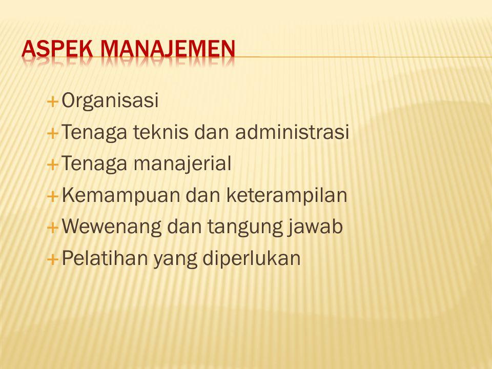 Aspek manajemen Organisasi Tenaga teknis dan administrasi