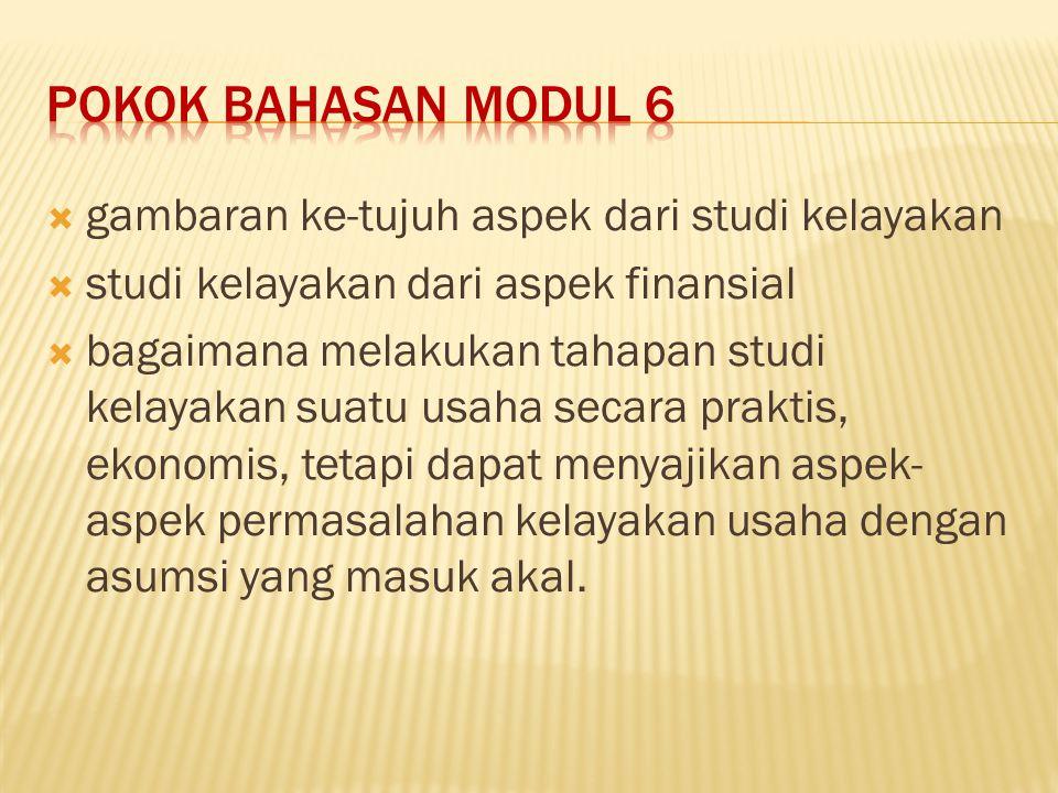 POKOK BAHASAN MODUL 6 gambaran ke-tujuh aspek dari studi kelayakan