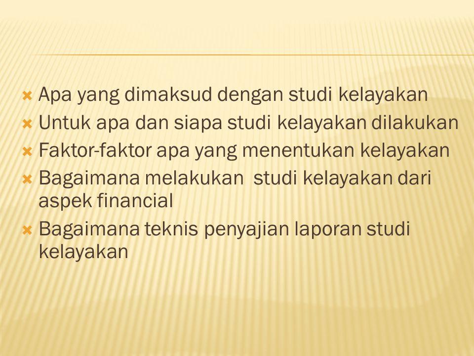 Apa yang dimaksud dengan studi kelayakan