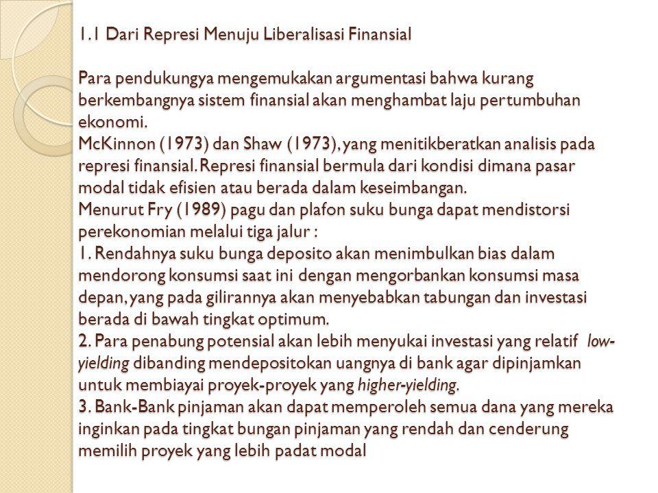 1.1 Dari Represi Menuju Liberalisasi Finansial Para pendukungya mengemukakan argumentasi bahwa kurang berkembangnya sistem finansial akan menghambat laju pertumbuhan ekonomi.