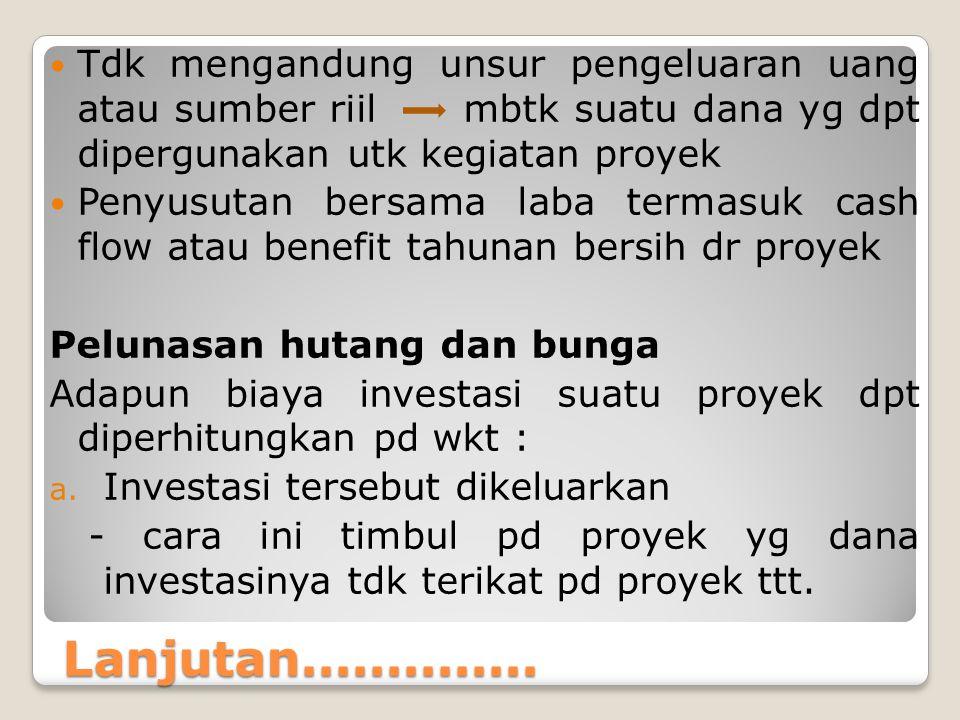 Tdk mengandung unsur pengeluaran uang atau sumber riil mbtk suatu dana yg dpt dipergunakan utk kegiatan proyek