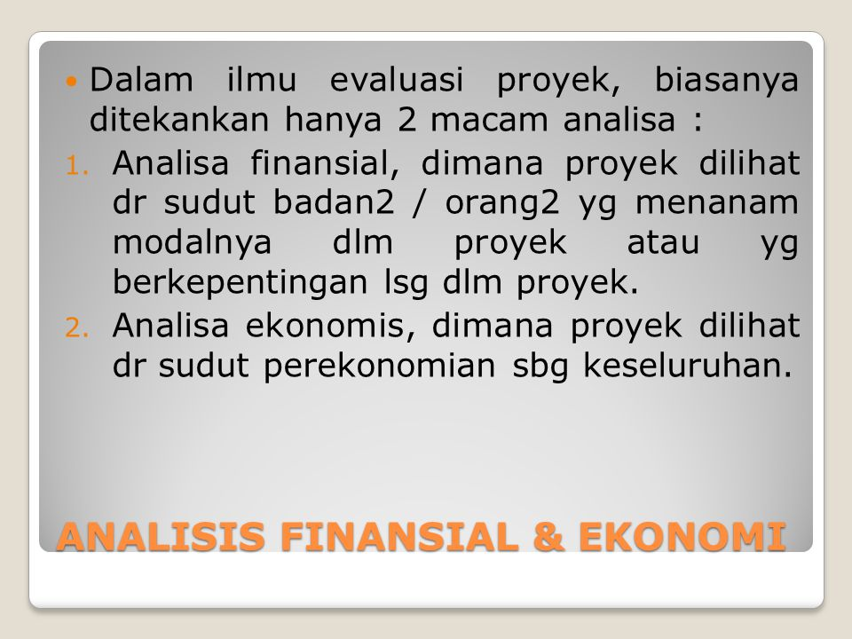 ANALISIS FINANSIAL & EKONOMI