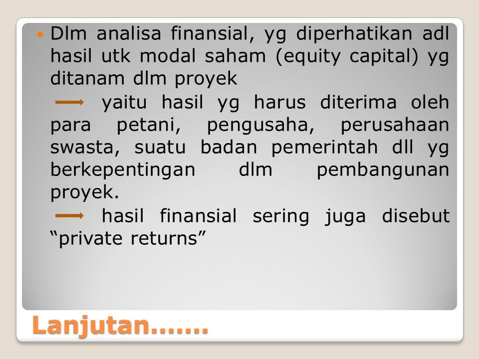 Dlm analisa finansial, yg diperhatikan adl hasil utk modal saham (equity capital) yg ditanam dlm proyek