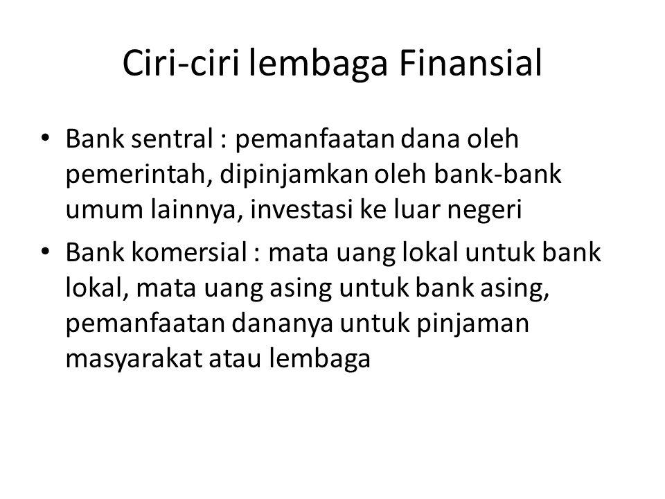 Ciri-ciri lembaga Finansial
