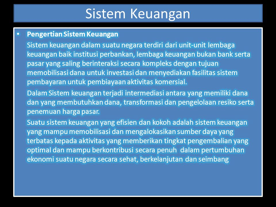 Sistem Keuangan Pengertian Sistem Keuangan