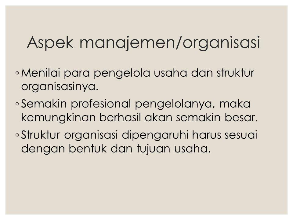 Aspek manajemen/organisasi