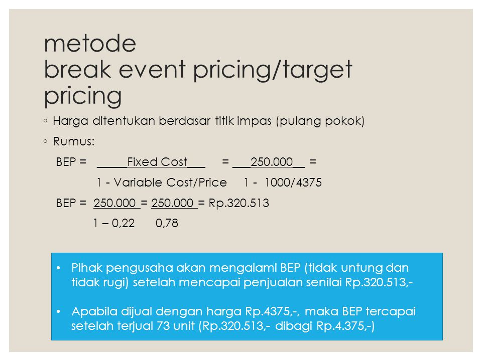metode break event pricing/target pricing