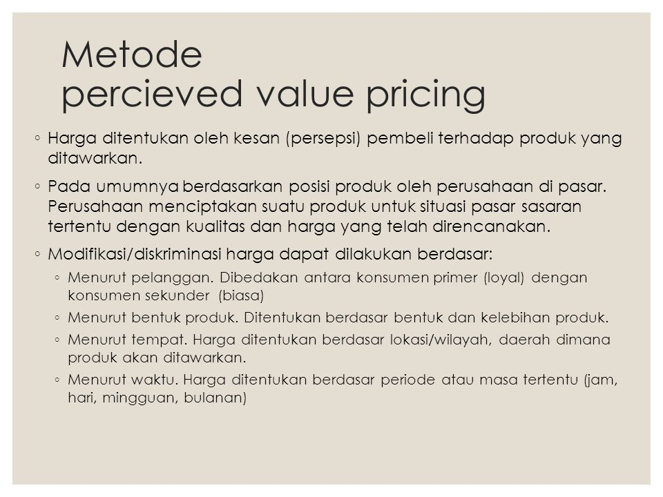 Metode percieved value pricing