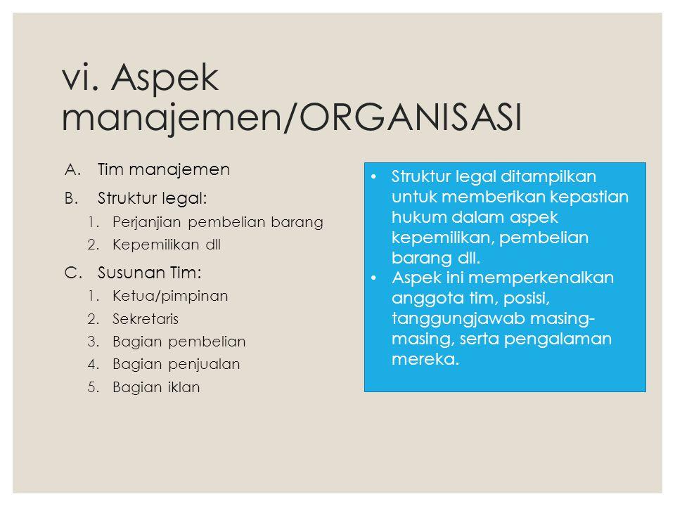 vi. Aspek manajemen/ORGANISASI