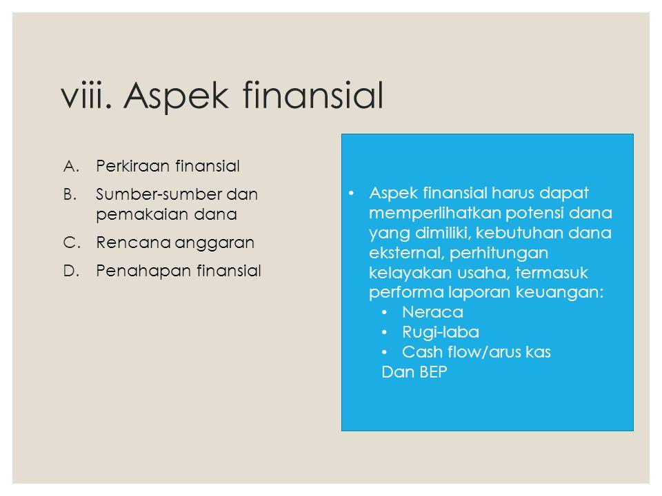 viii. Aspek finansial Perkiraan finansial