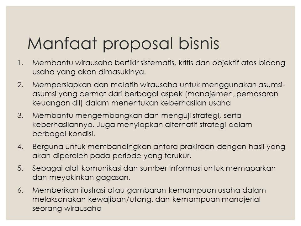 Manfaat proposal bisnis