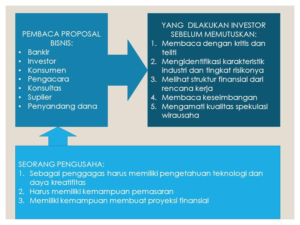PEMBACA PROPOSAL BISNIS: Bankir Investor Konsumen Pengacara Konsultas