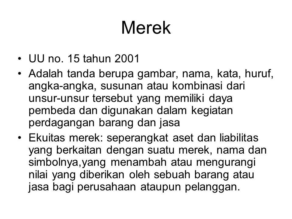 Merek UU no. 15 tahun 2001.