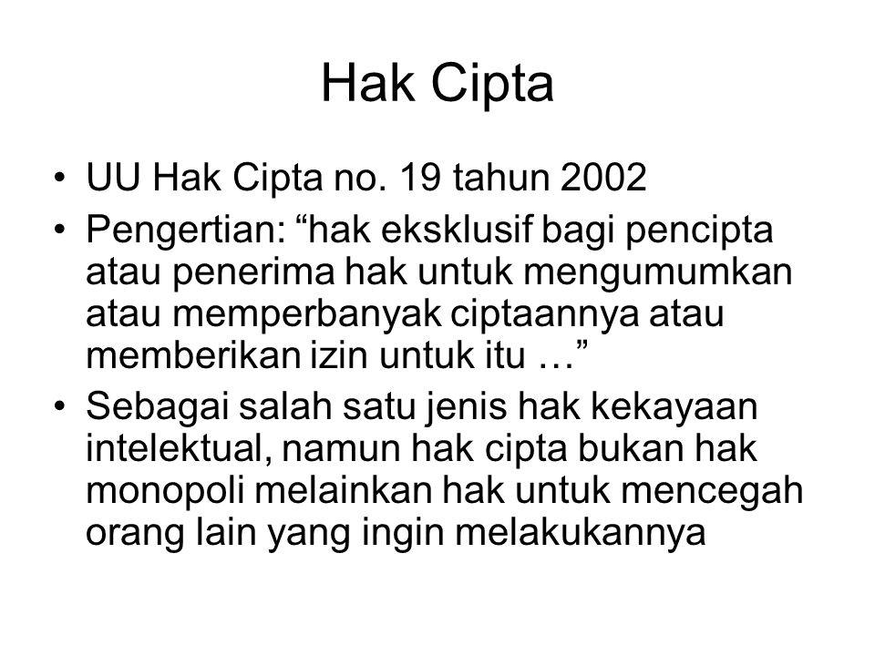 Hak Cipta UU Hak Cipta no. 19 tahun 2002