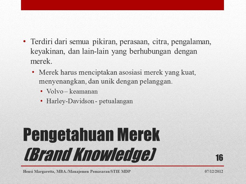 Pengetahuan Merek (Brand Knowledge)