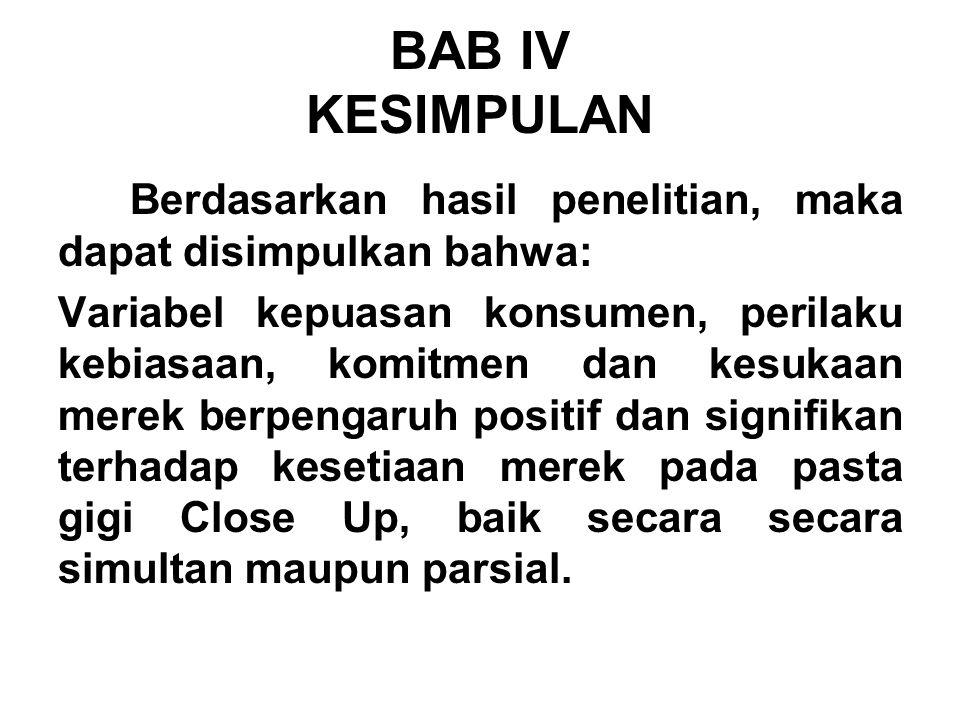 BAB IV KESIMPULAN Berdasarkan hasil penelitian, maka dapat disimpulkan bahwa:
