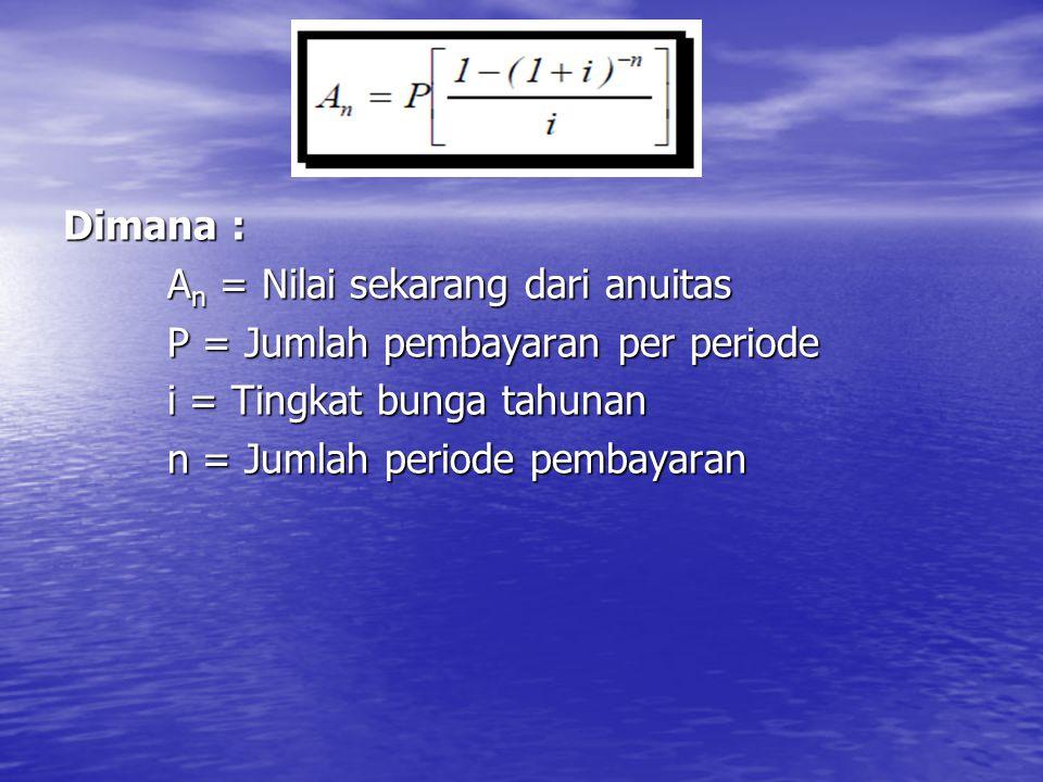 Dimana : An = Nilai sekarang dari anuitas P = Jumlah pembayaran per periode i = Tingkat bunga tahunan n = Jumlah periode pembayaran