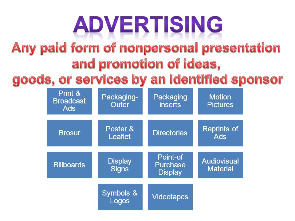 ADVERTISING Any paid form of nonpersonal presentation