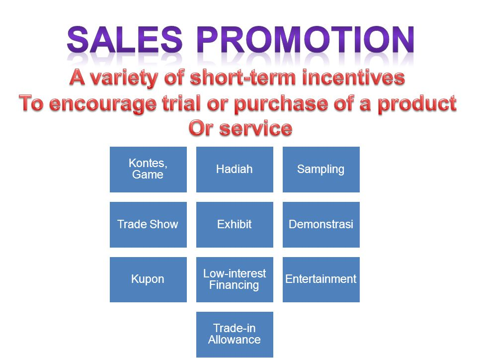 SALES PROMOTION A variety of short-term incentives