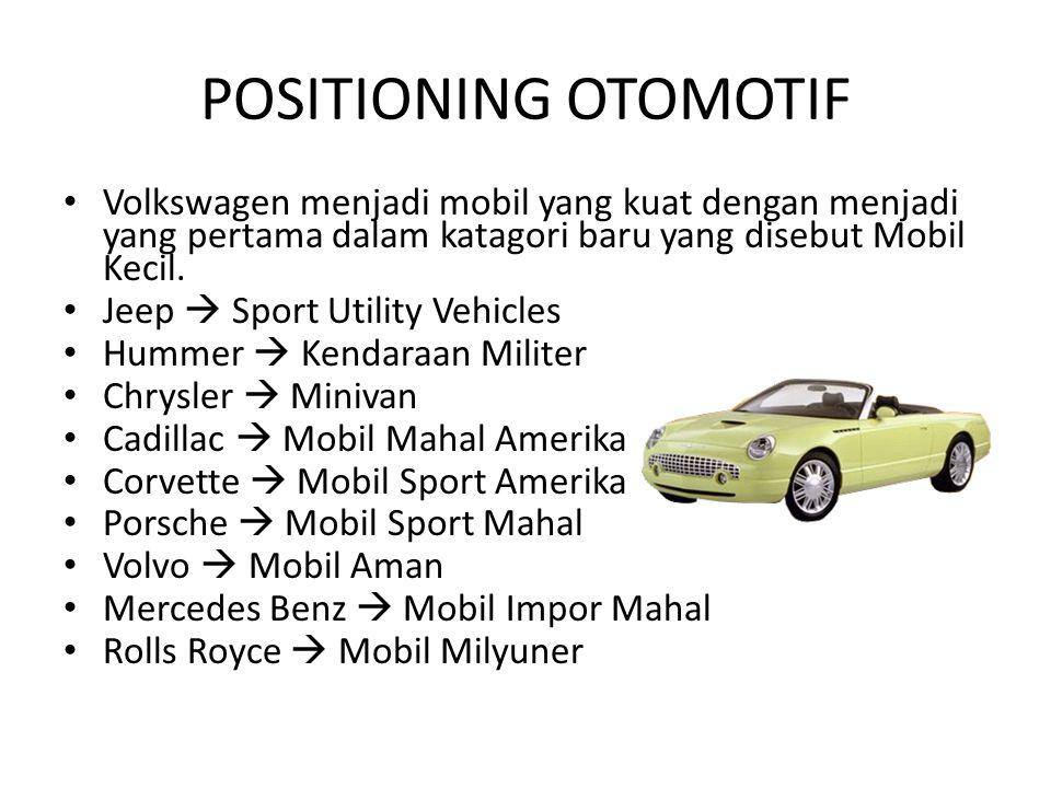 POSITIONING OTOMOTIF Volkswagen menjadi mobil yang kuat dengan menjadi yang pertama dalam katagori baru yang disebut Mobil Kecil.