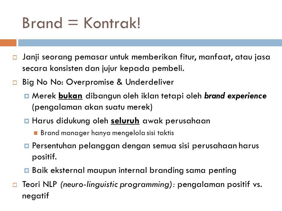 Brand = Kontrak! Janji seorang pemasar untuk memberikan fitur, manfaat, atau jasa secara konsisten dan jujur kepada pembeli.