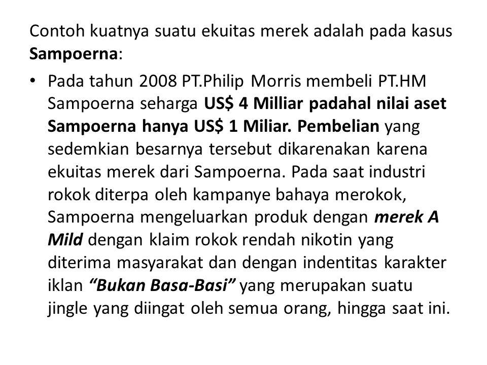 Contoh kuatnya suatu ekuitas merek adalah pada kasus Sampoerna: