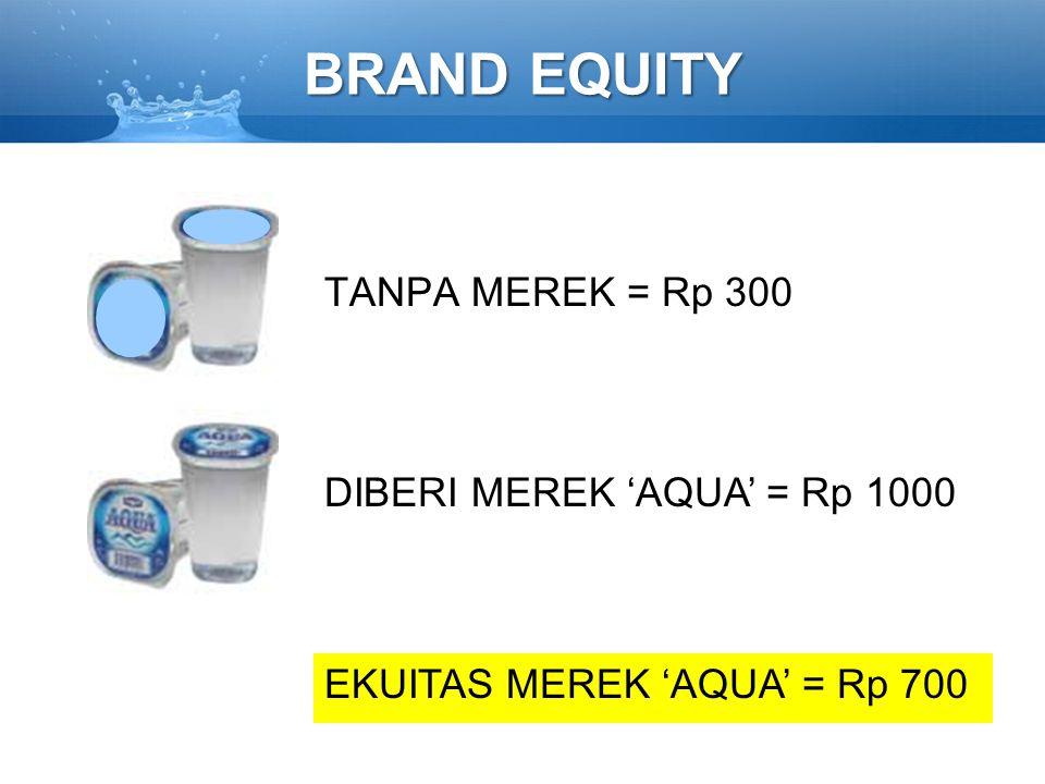 BRAND EQUITY TANPA MEREK = Rp 300 DIBERI MEREK 'AQUA' = Rp 1000